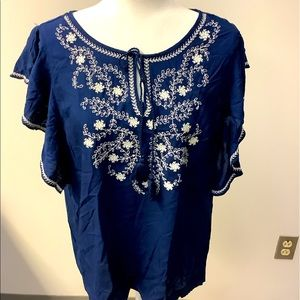 SALE! New Navy Embroidered Top